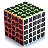 Cube de Vitesse Magique 5x5 5x5x5 Speed Cube Magic Cube Fibre de Carbone Autocollant Cadeau de Vacances pour Enfants Adultes Noir
