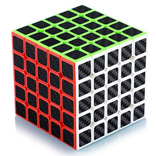 Maomaoyu Cubo Magico 5x5 5x5x5 Profesional Puzzle Cubo de la Velocidad Fibra De Carbono Negro