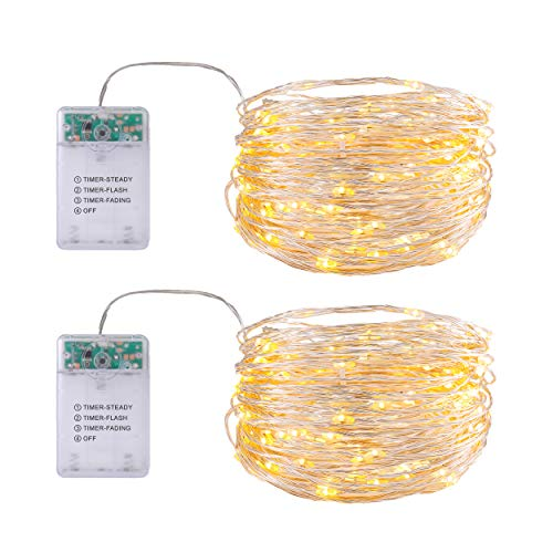LED Lichterkette, 50er Micro Lichtdraht, Batteriebetrieben, Warmweiß, 5M Kupferdraht, Lichterkette mit Timer, für Innen und Außen, 2er Pack