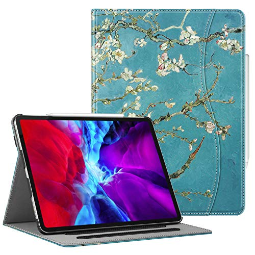 """CaseBot Case for iPad Pro 12.9"""" 4th & 3rd Generation 2020 / 2018 with Pencil Holder, Multi-Angle Folio Smart Stand Cover w/ Pocket & Auto Sleep/Wake, Support Pencil 2nd Gen Charging (Blossom)"""