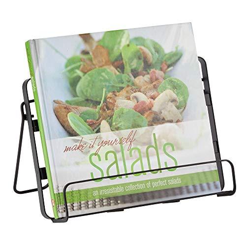 mDesign Buchständer – praktischer Kochbuchhalter aus Metall für die Küche – stilvoller Tablethalter für bequemes Lesen von Rezepten, Büchern und mehr – schwarz