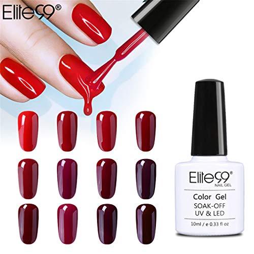 Elite99 Esmaltes Semipermanentes de Uñas en Gel UV LED, 12pcs Kit de Esmaltes de Uñas en Gel Soak Off Rojo Vino Burdeo
