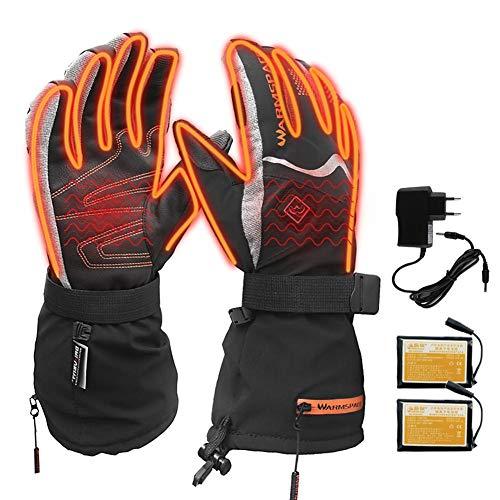 knowledgi - Guantes calefactables Recargables con batería para Hombre y Mujer, Guantes térmicos para el Invierno, 3 ajustes de Temperatura, para esquí, Ciclismo, Moto, para Hombre o Mujer