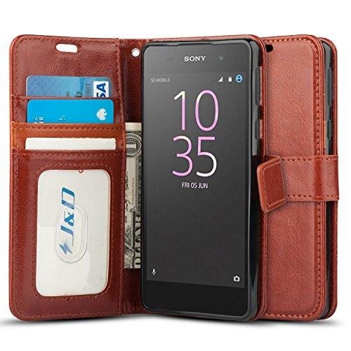 JundD Kompatibel für Xperia E5 Leder Hülle, [Handytasche mit Standfuß] [Slim Fit] Robust Stoßfest PU Leder Flip Handyhülle Tasche Hülle für Sony Xperia E5 Hülle - Braun