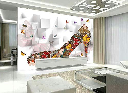 """3D Vlinder Hoge Hakken WG0124 Behang Afdrukken Decal Deco Binnen Muur Muurschildering Zelfklevend Behang AJ WALLPAPER NL Muzi (Vinyl (geen lijm en verwijderbaar), 【164""""x100""""】416x254cm(WxH))"""