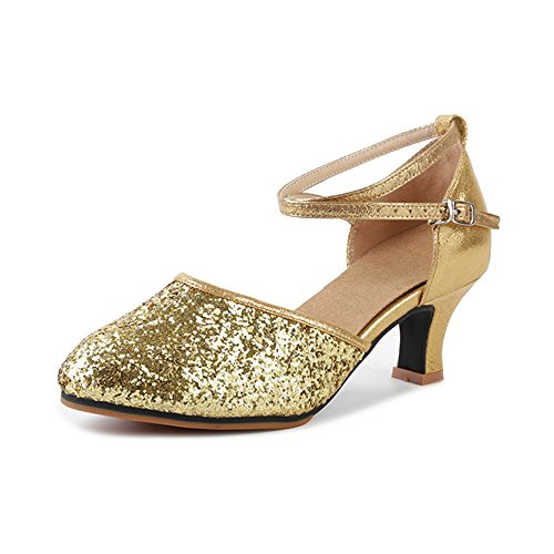 OCHENTA Damen Tanzschuhe Pumps Latin Schuhe Gesellschaftstanz Schuhe hochhackig Pailletten Sexy Gummi Gold Asiatisch 38/ EU 37,5