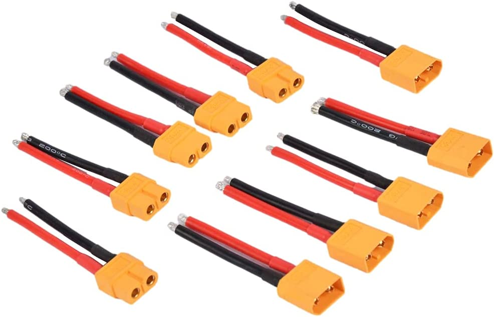 Ranking TOP10 Rlfearl 5 Pairs XT60 Plug Connector with and Sale S Male 14AWG Female