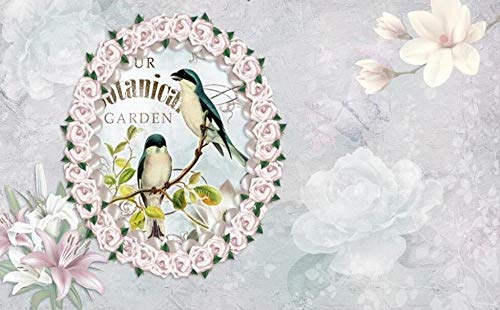 Wallpaper 3D Wallpapers for Walls Mural Garland, Small Bird, Pink Flower Wall Murals for Bedrooms and Living Room-300cmx210cm