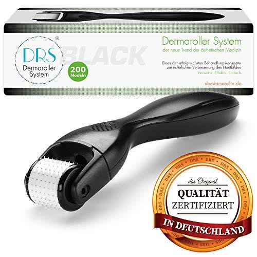 DRS Black Dermaroller mit 200 runden Nadeln, wechselbarer Aufsatz - das Original, Nadeln aus Edelstahl, Gebrauchsanweisung auf Deutsch und Englisch, Nadellänge:0.75mm