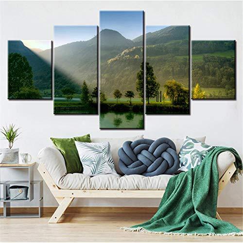 QianLei 5 panelen canvas schilderijen regenboogbrug en Niagara als nachtzicht behang -30x40 30x60 30x80 cm No Frame