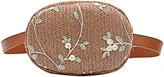 TOOGOO Women'S Straw Braided Cross-Body Bag Round Flower Embroidery Ethnic Wind Messenger Bag Summer Beach Handbag Brown