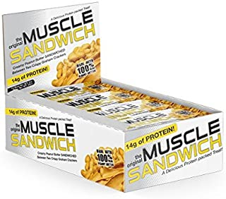 Muscle Foods Muscle Sandwich Bars, Peanut Butter Graham, 2-Ounce Bars ( 12 count )
