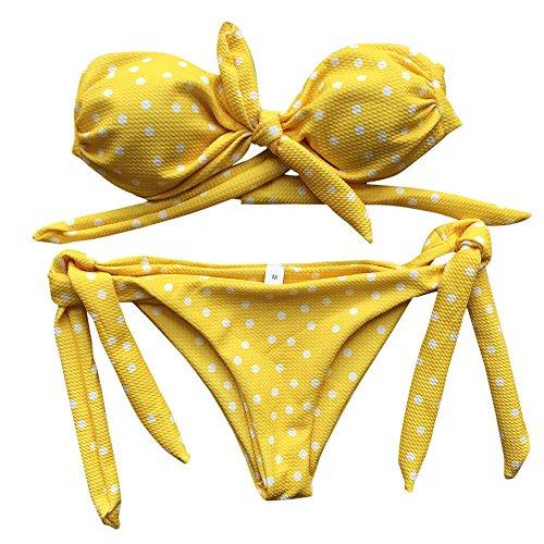 Lialbert Damen Badeanzug Punkte Bandeau Bikini Micro Tankini Mit Shorts Push Up Bikinihose Zweiteiliger Bademode Ohne TräGer Fraue Hoher Beinausschnitt Beachwear