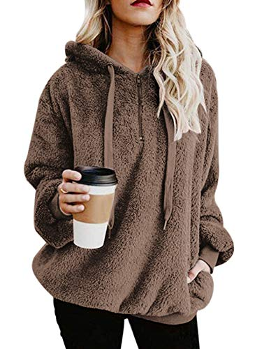 Century Star Womens Fuzzy Hoodies Pullover Cozy Oversized Pockets Hooded Sweatshirt Athletic Fleece Hoodies Brown Large
