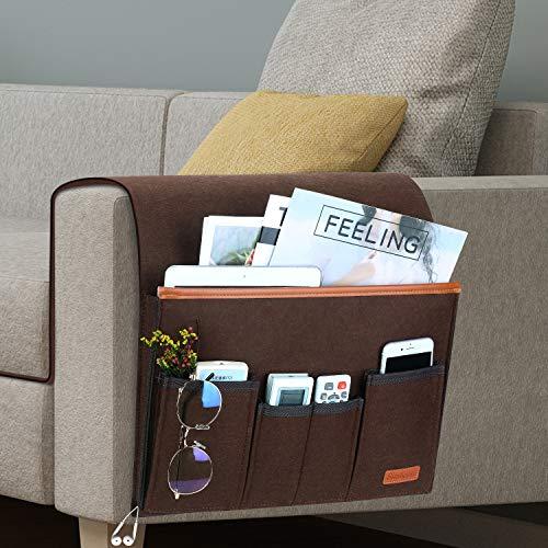 Organizador de sofá, soporte para mando a distancia de TV, bolsa de almacenamiento para reposabrazos de sofá antideslizante con 5 bolsillos(Marrón)