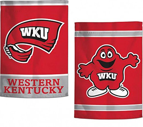 Western Kentucky WKU Garden Flag, 12.5 x 18 inches, 2 Sided Print, WKU Text and Big Red Mascot