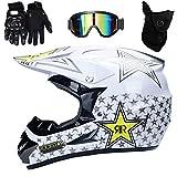 UIGJIOG Casco Motocross Niño, Rockstar - Adulto Casco Motocross Enduro MTB con Gafas/Máscara/Guantes, Casco Cross Quad Off Road ATV Scooter,Blanco,XL(58~59cm)