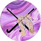 PEIGJH Alfombra De área Redonda Moderno Antideslizante Sala De Estar Dormitorio Baño Cocina Suave Alfombra Alfombra, 60cm, Jugador de Hockey sobre césped Palos Rosa púrpura