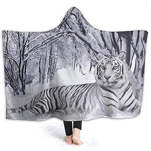 Foresta neve montagna tigre bianca uomini con cappuccio coperta coperta di flanella super morbida coperta con cappuccio avvolgere coperta coperta accappatoio mantello per divano casa ufficio,153 * 127 cm