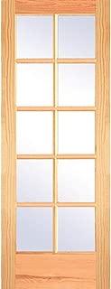 National Door Company ZZ364983 Unfinished Pine, 10 Lite True Divided Interior Door Slab, 28