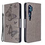 Grandcaser Étui pour Mi Note 10 Ultra-Mince TPU+PU Cuir Magnétique 2 Fentes Cartes Clip...