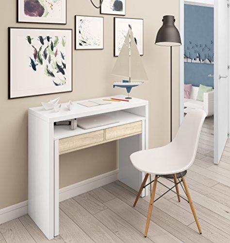 Mesa escritorio desplazante blanco artic y roble canadian para estudio, oficina o habitacion 98cm