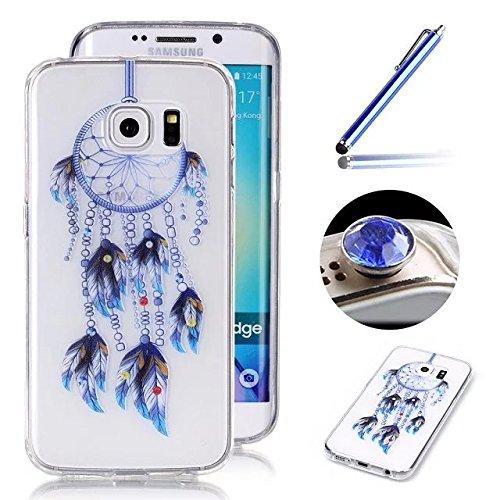 Samsung Galaxy S6 Edge TPU Coque étui,Samsung Galaxy S6 Edge Ultra-minces Silicone Doux Housse,Etsue Joli Rêverie Cloche à vent Peint Motif Design Souple Gel avec Transparent Cadre de Housse Coque Coquille pour Samsung Galaxy S6 Edge + 1x Bleu style + 1x Bling poussière plug (couleurs aléatoires) - Cloche à vent