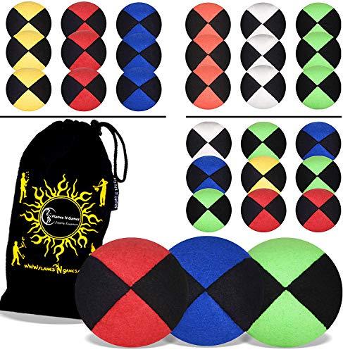 Flames N Games ® Thud Jonglierbälle 3er Set - Profi Beanbag Bälle aus Velours + Reisetasche! Komplett-Set Ideal Für Anfänger und Auch Für Profis! (Grun)