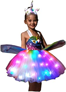 Girls Unicorn Princess Costumes LED Light up Dress for Birthday Christmas Party Gifts with Headband