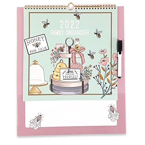 Bee Keepers Bee Yourself Large Family Organiser 2022 Calendar with Pen Month to Month View