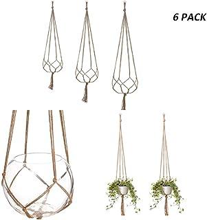 CLIng 6 Pack 3 Sizes Indoor Outdoor Hanging Planter Holder, Planter Basket Hangers Flower Pot Holder Handmade Natural Jute...