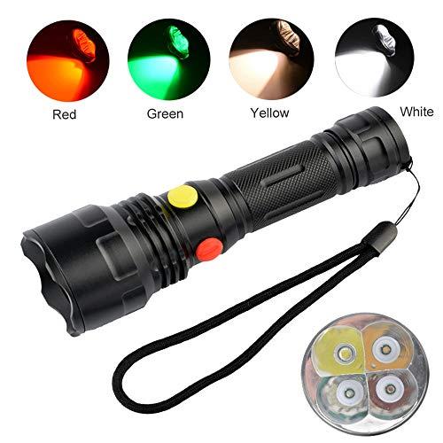 4 colores en 1 linterna con luz verde roja blanca amarilla, linternas de múltiples colores Señal de carretera Antorchas para visión nocturna, astronomía, senderismo, pesca, acampada