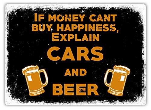 No Branded Letrero de pared de metal - Carros y cerveza
