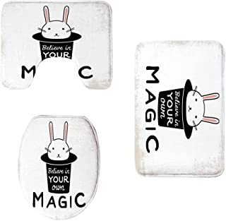 YOLIYANA Magical Stylish Three Piece Toilet Seat Pad,Believe in Your Own Magic Quite Print with Cute Rabbit in Hat Motivational Print for Toilet,One Size