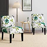 Upholstered Dining Chairs, Modern Retro Accent Chair w/Thick Sponge Cushion, Fabric Printing Leisure Armless Side Chairs, Single Sofa for Living Room, Dining Room and Bedroom, Set of 2, by Supernova