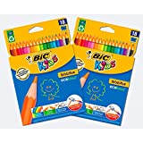 BIC Kids Evolution ECOlutions Matite per Colorare - Colori Assortiti, 2 Pacchi da 18
