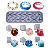 SCASTOE DIY Crystal Epoxy Mold Dice Filet Ring Digital Game Jewelry Silicone Mold