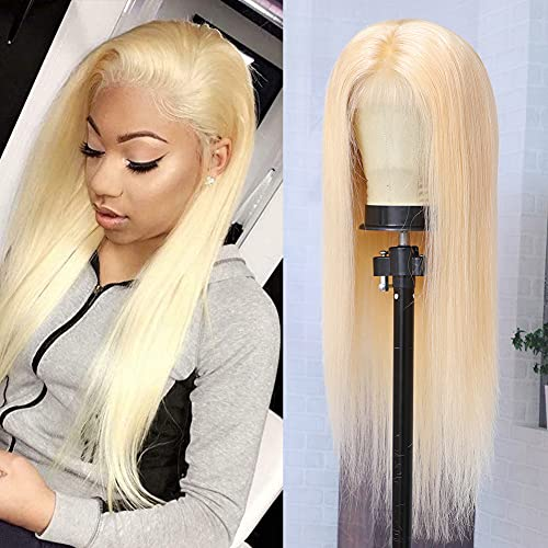 613 Blonde Lace Front Wig Human Hair 13x4 Pre Plucked HD Transparent Lace Frontal Wig with Baby Hair 150% Density Straight Blonde Human Hair Wigs for Black Woman Bleached Knots (18inch)