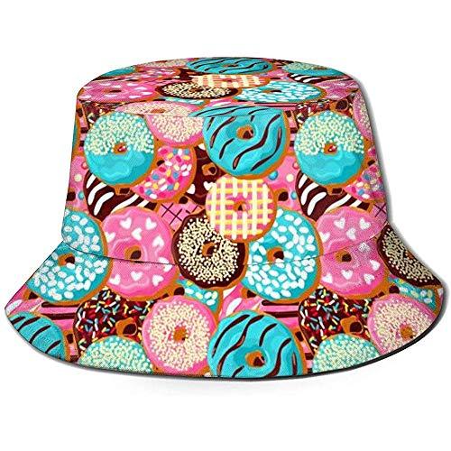 Roze Donut Chocolade Patroon Unisex Emmer Hoed Omkeerbare Visser Hoed Verpakbare Casual Reizen Strand Golf Zon Hoeden voor Mannen Vrouwen