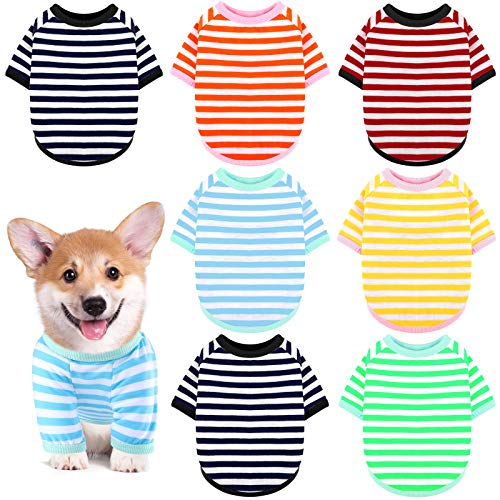URATOT 7 Pieces Multi-Colored Dog Striped T-Shirt Dog Shirt Pet Breathable Striped Outfits Puppy Sweatshirt Pet Apparel for Small Medium Large Dog Cat(S)