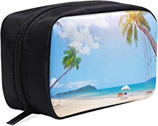 Ocean Beach With Coconut Palm Tree On Blue Sky Portable Travel Makeup Cosmetic Bags Organizer Multifunction Case Small Toiletry Bags For Women And Men Brushes Case