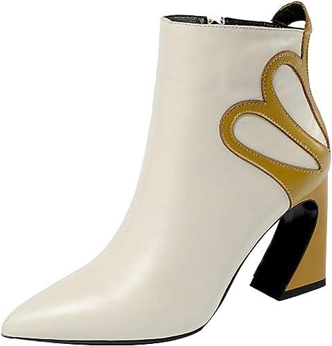 Calaier Femme ankxib ankxib 8CM Bloc Fermeture éclair Bottes Chaussures  grande vente