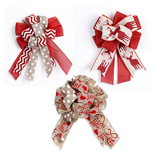 Seika 3Pcs Large Bow Christmas Tree Topper Fall Bows for Wreaths, 12 Inch Burlap Gift Wrapping Bows