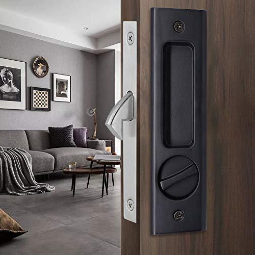 CCJH - Cerradura de puerta corredera invisible, con tirador de pestillo con 3 llaves, cerradura de puerta de bolsillo de madera, muebles de ferretería (negro)