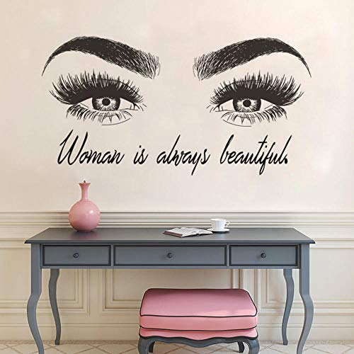 Benutzerdefinierte Text Beauty Salon Wandtattoo Augenbrauen Maky Up Wandaufkleber Wimpernverlängerung Vinyl Wand Poster Lash Bar Decor 57 * 128 cm