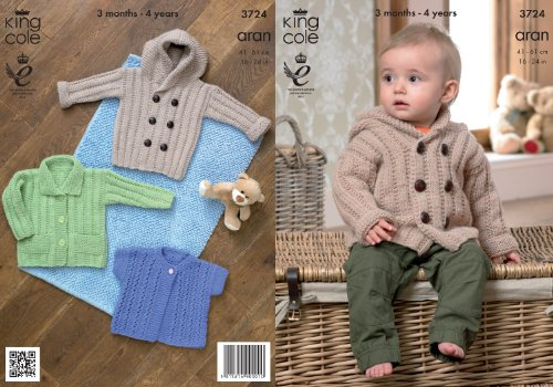King Cole Baby Aran Knitting Pattern Kids Hooded Coat Jacket amp Lacy Short Sleeve Cardigan 3724 by King Cole