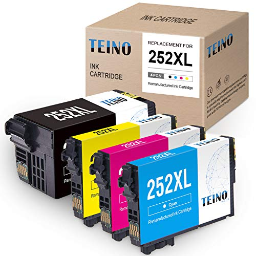 TEINO Remanufactured Ink Cartridges Replacement for Epson 252 252XL 252 XL use with Workforce WF-7710 WF-3640 WF-7720 WF-3620 WF-7620 WF-7610 WF-7210 WF-7110 (Black, Cyan, Magenta, Yellow, 4-Pack)