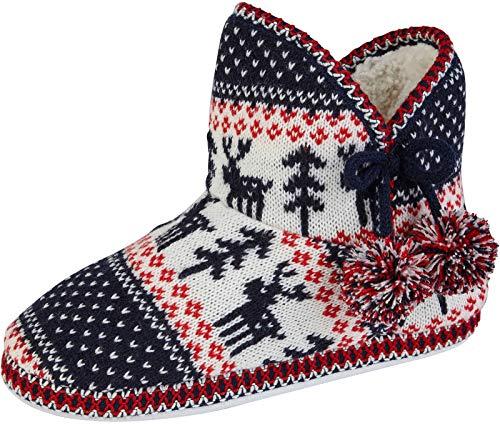 LD Outltet Women's Slipper Boots Reindeer & Pom Poms Navy/Red 3-4 UK