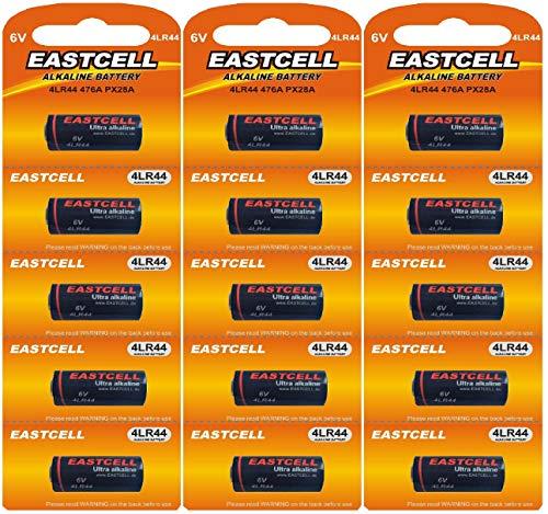 15 x 4LR44 6V (3 Blister a 5 Batterien) Quecksilberfreie Alkaline Batterien PX28, 4G13, 476A, L1325 Markenware EINWEG EASTCELL FBA