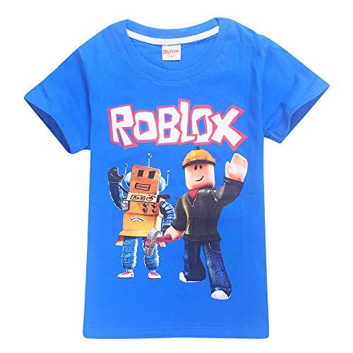 Roblox Camiseta Ropa de Calle para niños Ropa de Vestir Camisas de Manga Corta Fibra de bambú Elástico Elástico Camisetas niños